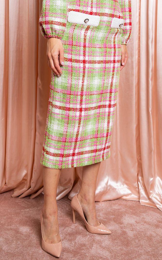 Įvairiaspalvis tvido sijonas