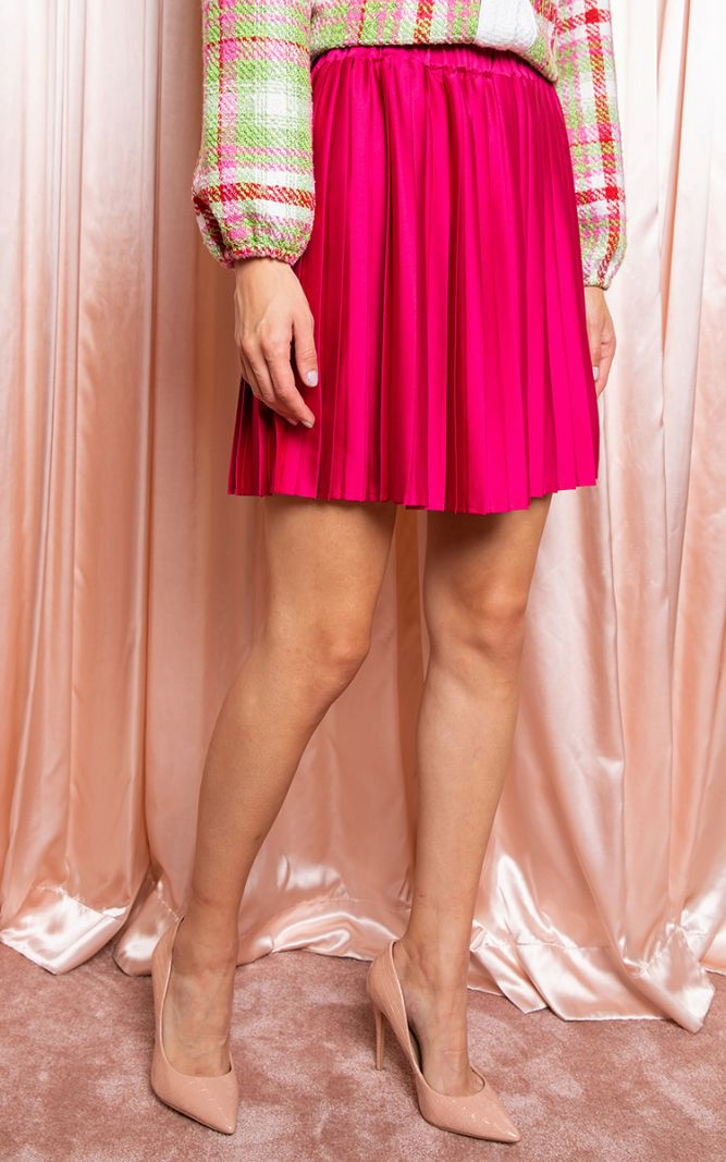 Atlasinis klostuotas sijonas fuksijų spalvos