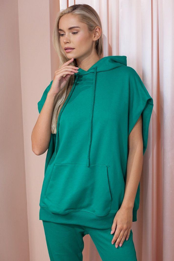 Džemperis trumpomis rankovėmis, turkio spalvos
