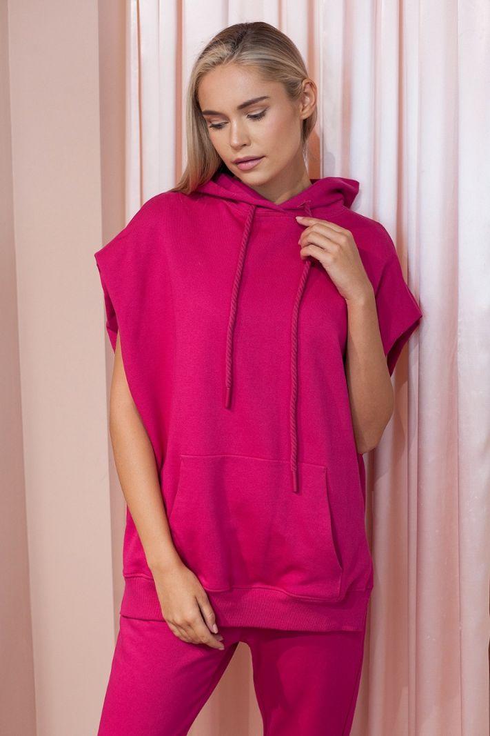 Džemperis trumpomis rankovėmis, fuksijų spalvos