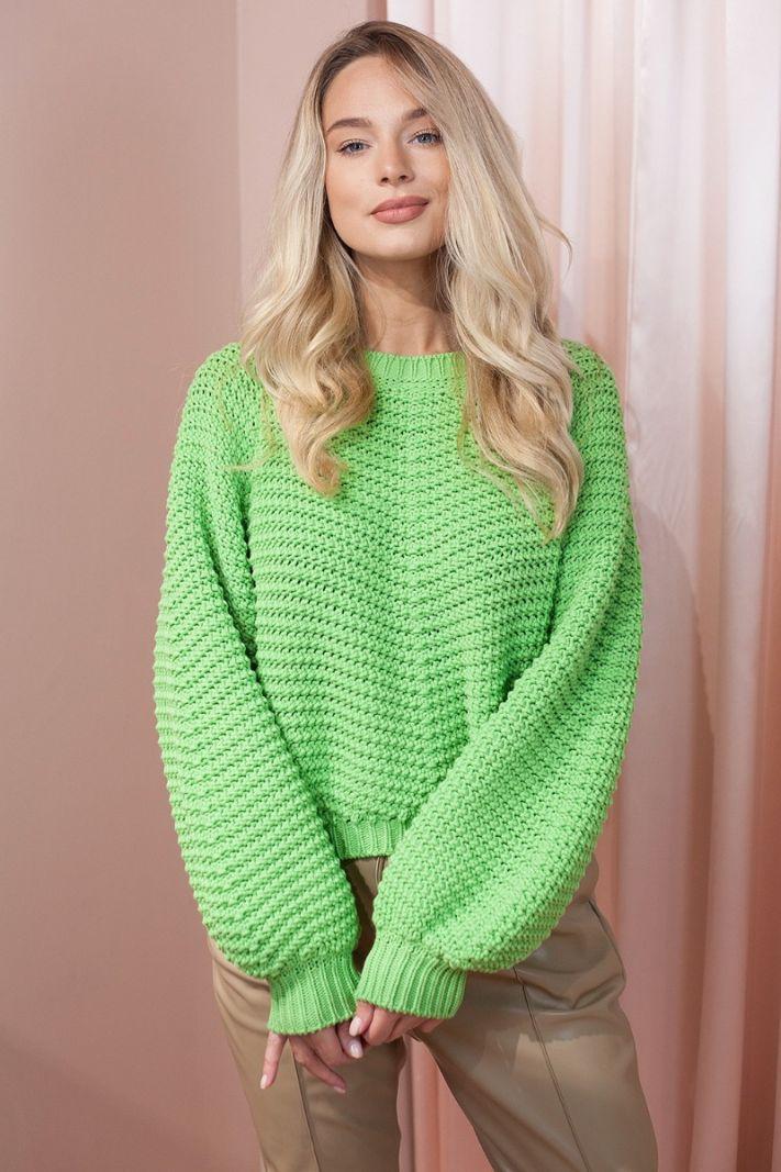 stambaus rašto megztinis, salotinės spalvos