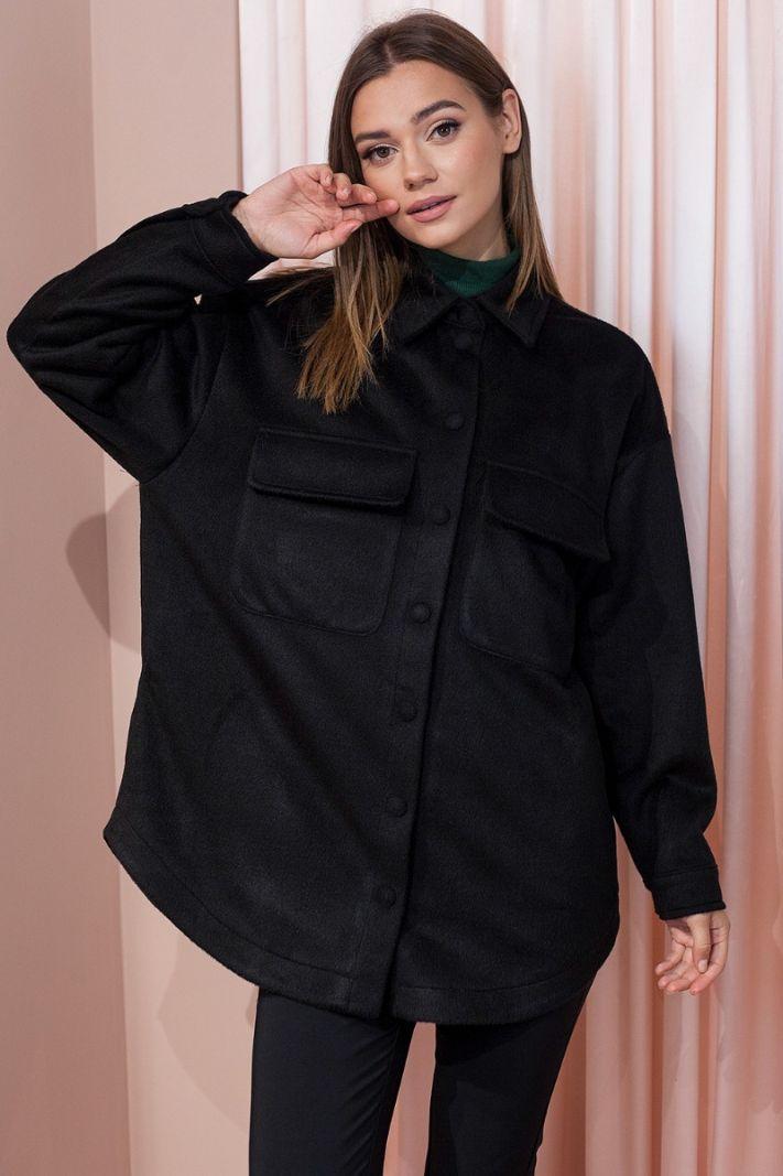 Šilti marškiniai su kišenėmis juodos spalvos