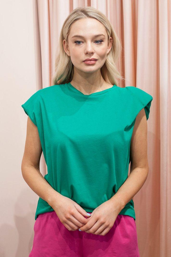 Marškinėliai su petukais žali